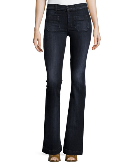 Hudson Taylor High-Rise Superior Flared Jeans, Blackbird