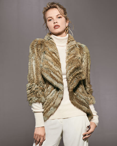 Open-Front Knitted Rabbit Jacket
