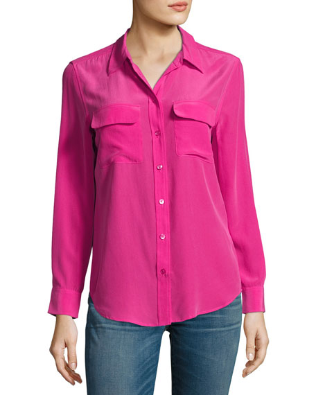 Slim Signature Long-Sleeve Silk Shirt