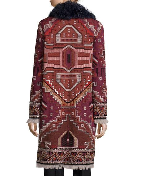 Tapestry Coat w/ Fur Collar