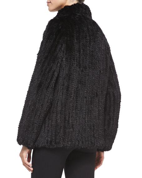 Knitted Mink Fur Bomber Jacket