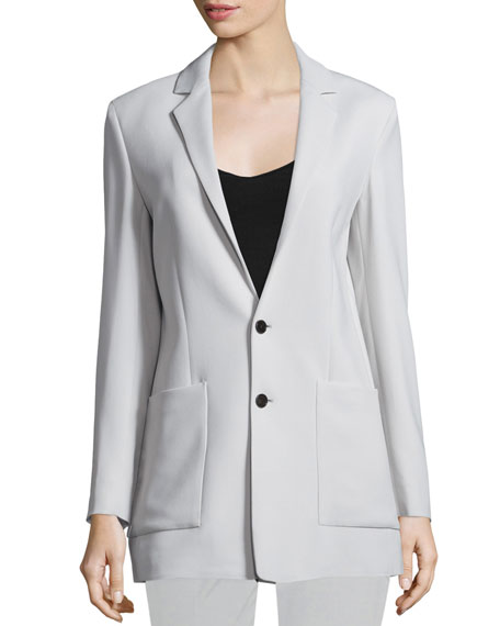 Joseph Crepe Oversize Two-Button Blazer, Putty
