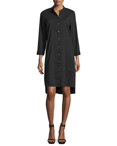 3/4-Sleeve Linen-Blend High-Low Dress, Women's