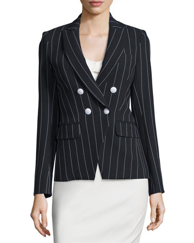 Daytona Pinstriped Cutaway Blazer, Black/White