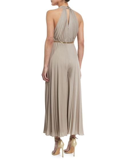 Halter Pleated Wide-Leg Jumpsuit