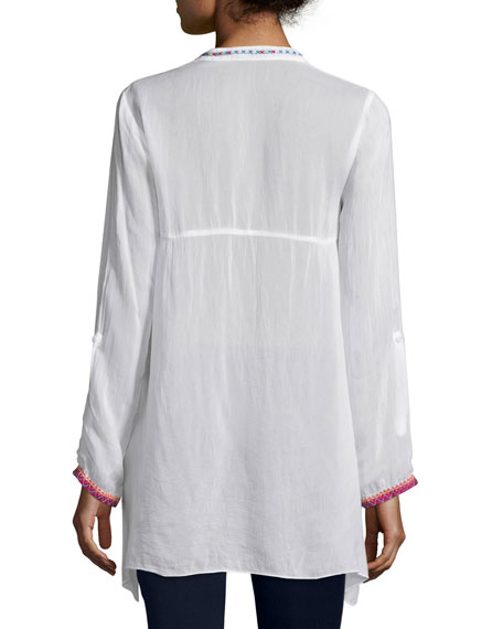 Sable Long-Sleeve Embroidered Tunic