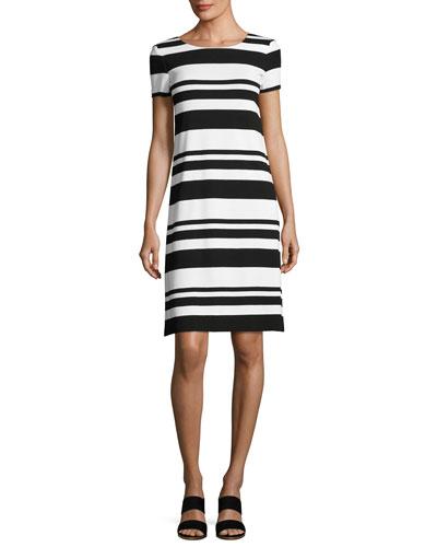 Short-Sleeve T-Shirt Striped Dress, Black/Multi