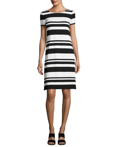Lafayette 148 New York Short-Sleeve T-Shirt Striped Dress,