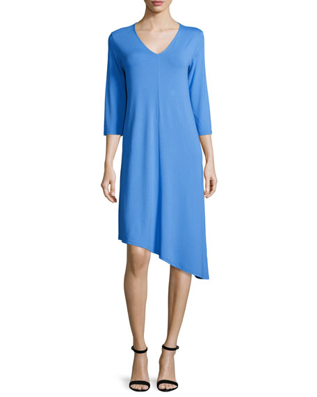 Eileen Fisher 3/4-Sleeve Asymmetric Jersey Dress, Plus Size