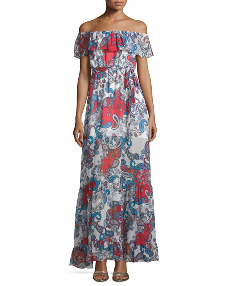 N Nicholas Off-The-Shoulder Paisley-Print Maxi Dress, Red Pattern