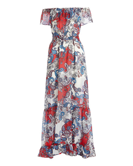 ff56518ff1a32 Image 3 of 3  Off-The-Shoulder Paisley-Print Maxi Dress