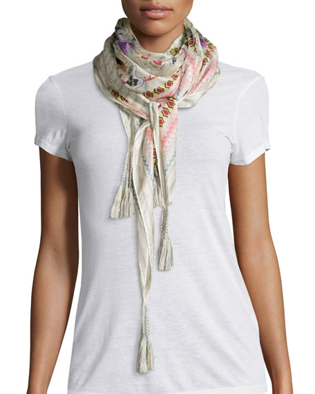 Johnny Was Collection Sunrose Printed Silk Georgette Scarf