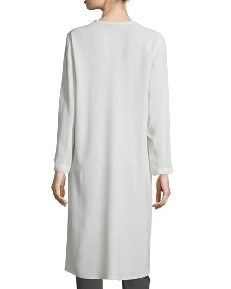 Long Button-Front Silk Duster Coat
