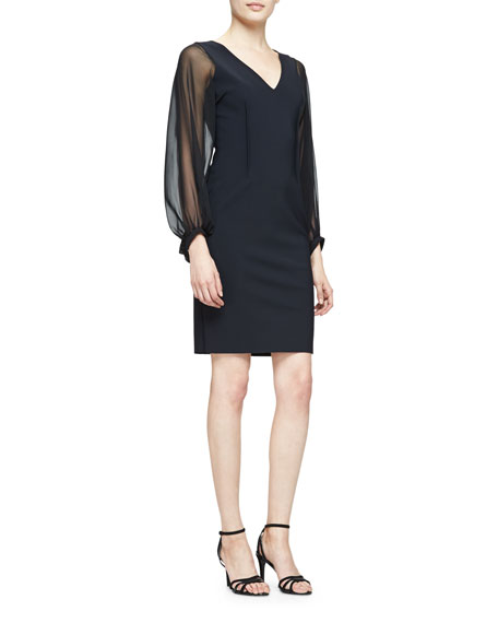 Rickie Freeman for Teri Jon Long-Sheer-Sleeve Sheath Cocktail