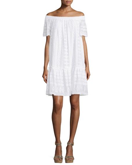 Rebecca TaylorEmbroidered Off-the-Shoulder Shift Dress, Sea Salt