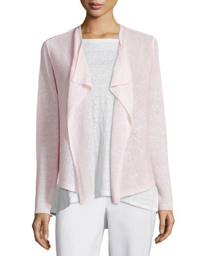 Draped-Front Organic Linen Cardigan, Opal Best Price