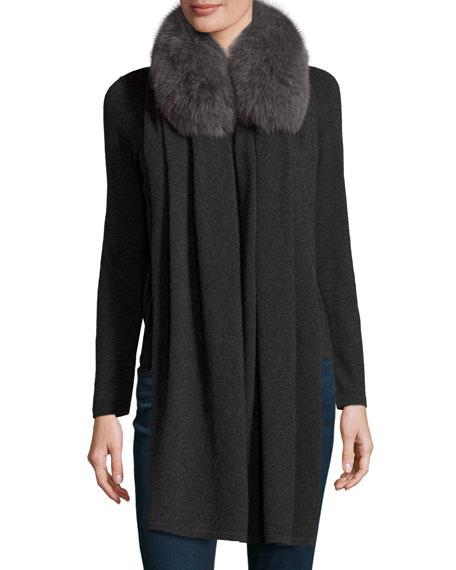 Fox Fur-Trimmed Cashmere Shawl