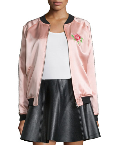 Reversible Embroidered Silk Varsity Jacket, Light Pink