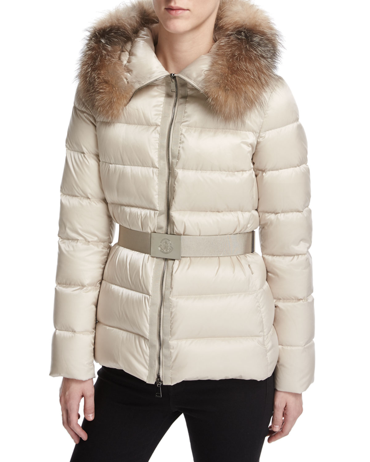 22233158367b Moncler Tatie Hooded Fur-Trim Puffer Jacket