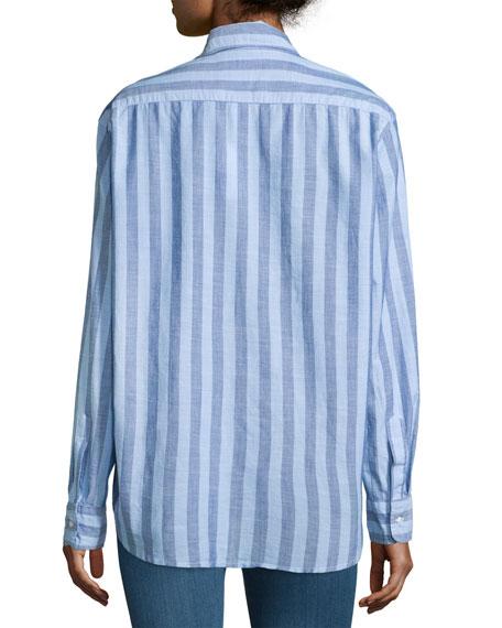 Frank & Eileen Eileen Long-Sleeve Striped Chambray Blouse