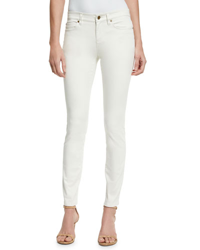 Sueded Organic-Stretch Sateen Jeans, Bone