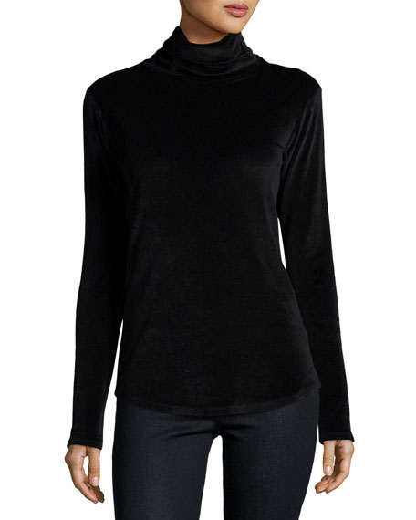Long-Sleeve Velour Turtleneck