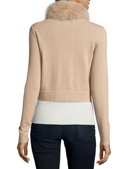 Cashmere Fur-Trim Shrug