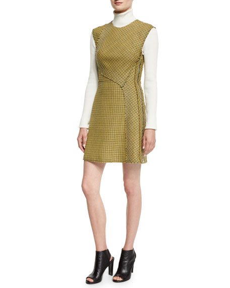3.1 Phillip Lim Sleeveless Plaid Trapunto Mini Dress,