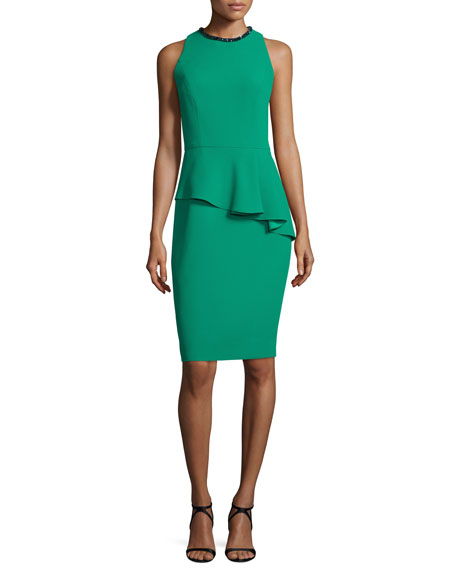 Carmen Marc Valvo Sleeveless Asymmetric Peplum Sheath Dress,