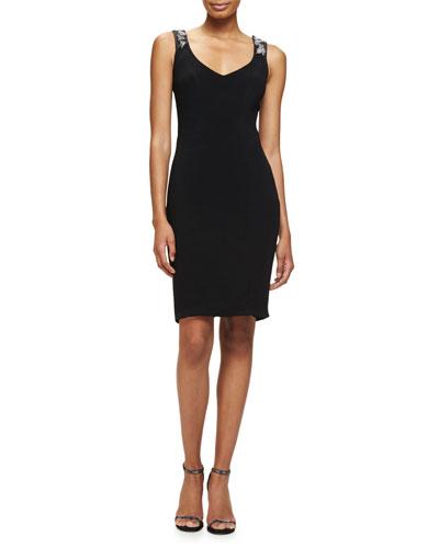 Sleeveless Embellished-Back Sheath Dress, Black/Silver