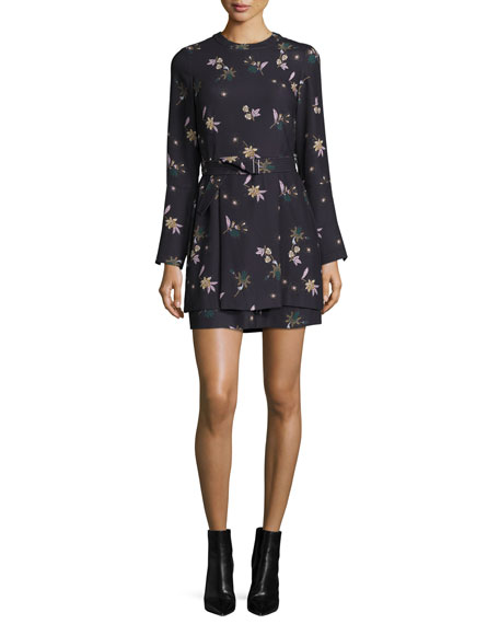 A.L.C. Jardani Belted Floral Silk Mini Dress, Blue