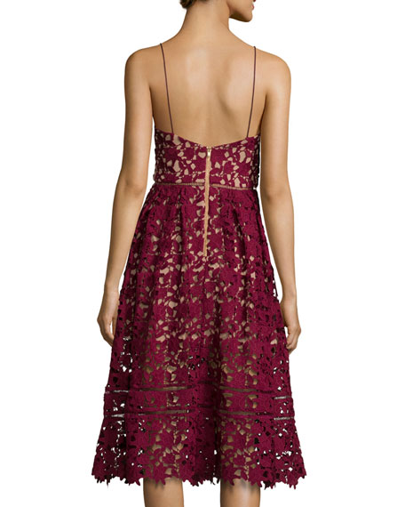 Image 3 of 3: Azaelea Guipure-Lace Illusion Dress, Burgundy