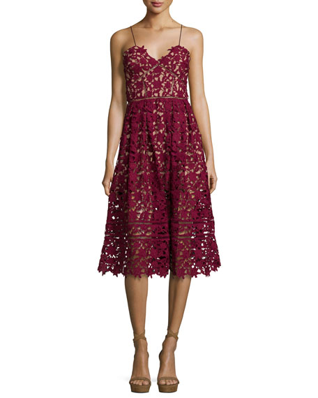 Image 1 of 3: Azaelea Guipure-Lace Illusion Dress, Burgundy