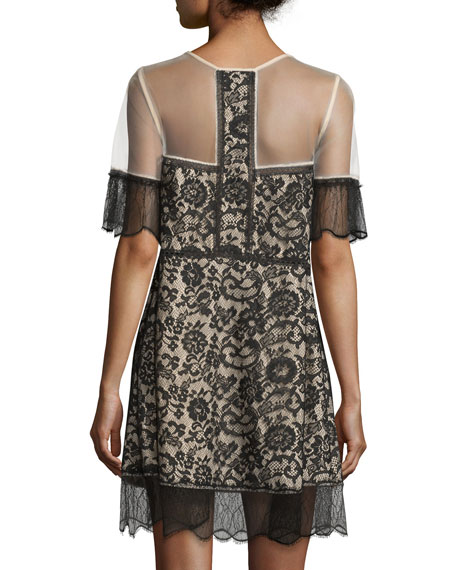 470183575a406 Kendall + Kylie Paneled Floral-Lace Babydoll Dress | Neiman Marcus