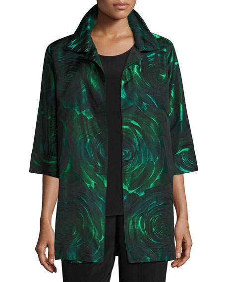 Caroline Rose Night Blooms Jacquard Party Jacket, Emerald/Black
