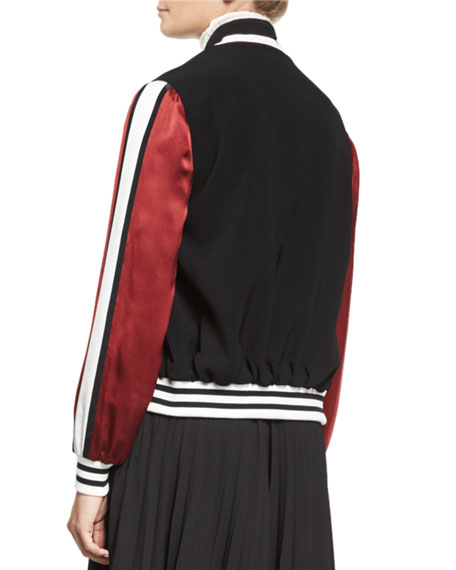 Ivy Striped Satin-Sleeve Bomber Jacket