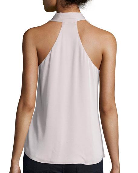 Silk-Blend Tassel-Tie Halter Top