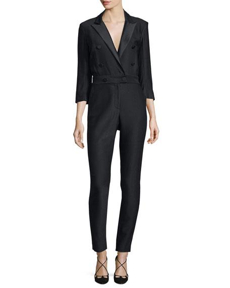 Veronica Beard Daffodil Taffeta Tuxedo Jumpsuit, Black