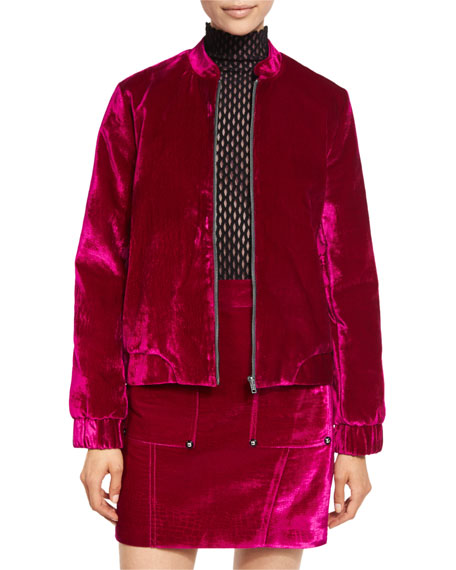Opening Ceremony Croc-Embossed Velvet Bomber Jacket Long-Sleeve