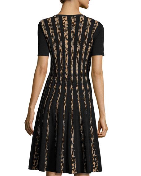 Short-Sleeve Leopard Birdseye Jacquard A-Line Dress, Black/Zoe Beige