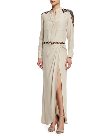 Haute Hippie Long-Sleeve Button-Front Embellished Silk Gown, Buff