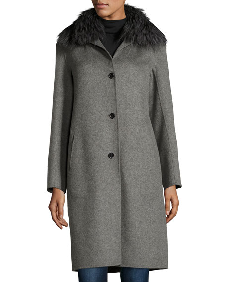 Neiman Marcus Cashmere Collection Cashmere Coat with Detachable ...