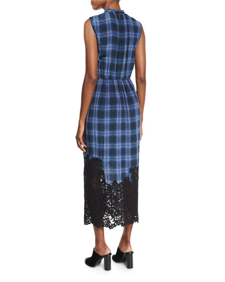 Lace-Hem Plaid Sleeveless Dress, Violet Stone Combo