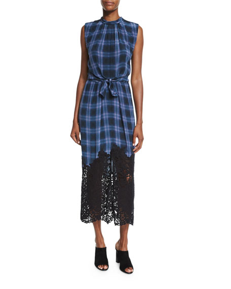 Rebecca Taylor Lace-Hem Plaid Sleeveless Dress, Violet Stone