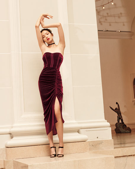 Plaza Strapless Velvet Midi Dress, Wine