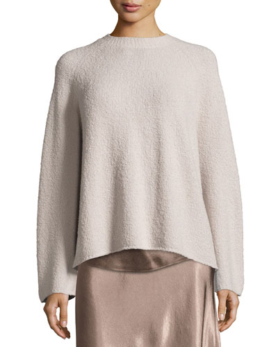 Ladder-Stitched Funnel-Neck Cashmere-Blend Sweater, Hazel