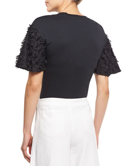 See by Chloe Short-Sleeve Fringe Jersey Tee, Black