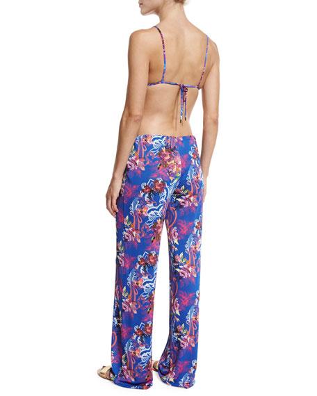 Floral-Print Wide-Leg Coverup Pants, Blue Multi