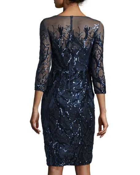 3/4-Sleeve Embellished Sheath Dress, Navy
