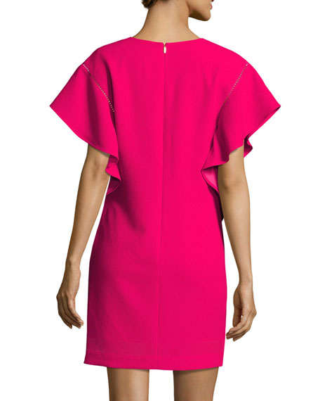 Flutter-Sleeve Classic Crepe V-Neck Shift Dress